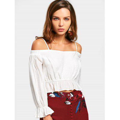 Ruffle Cropped Cold Shoulder Top