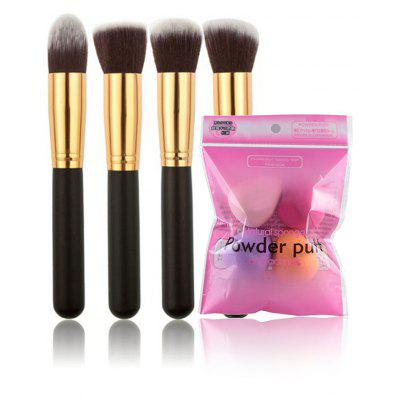 4 Pcs Makeup Brushes + Blender Sponges