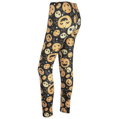 High Waisted Calabaza Cara Imprimir Leggings de Halloween