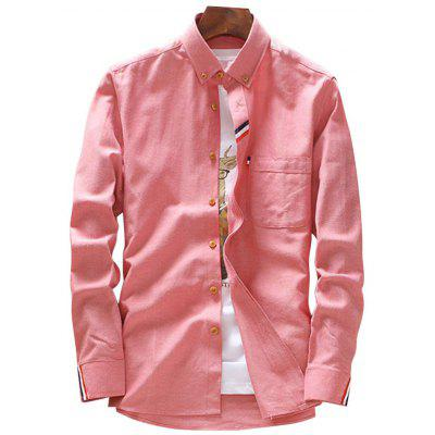 Buy WATERMELON RED Button Down Stripe Detail Pocket Shirt for $25.52 in GearBest store
