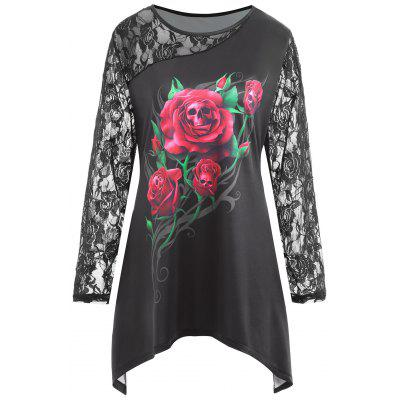 Buy BLACK 3XL Plus Size Lace Panel Halloween Rose Skull Print Tee for $19.00 in GearBest store