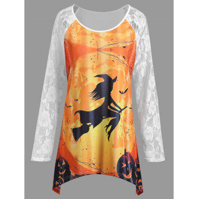 Buy WHITE XL Plus Size Lace Panel Halloween Pumpkin Asymmetrical T-shirt for $18.66 in GearBest store