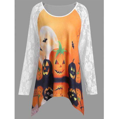 Buy WHITE XL Plus Size Halloween Pumpkin Lace Panel Asymmetrical T-shirt for $18.66 in GearBest store