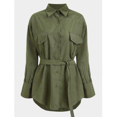 Buttons Belted Longline Shirt