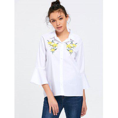Buy WHITE M Floral Embroidered Flare Sleeve Shirt for $22.95 in GearBest store