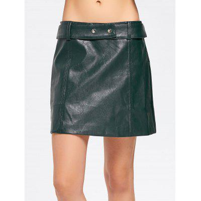 Buy BLACKISH GREEN M Faux Leather Belted A Line Mini Skirt for $27.63 in GearBest store