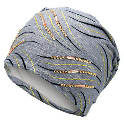 Buy GRAY Vintage Wave Stripe Pattern Rhinestone Embellished Beanie for $10.12 in GearBest store