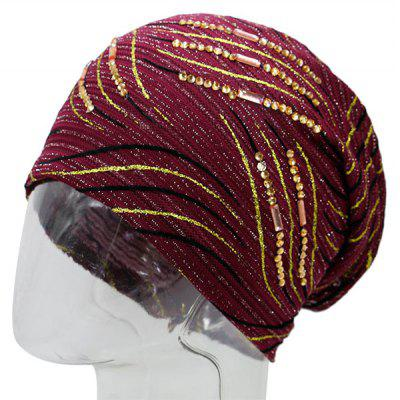Buy WINE RED Vintage Wave Stripe Pattern Rhinestone Embellished Beanie for $10.12 in GearBest store
