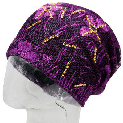 Vintage Lace Sequins Embellished Floral Embroidery Pattern Beanie