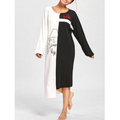 Buy BLACK WHITE 2XL Two Tone Oversized Asymmetric Sleep Dress for $30.20 in GearBest store