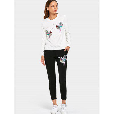 Sequined Bird Sweatshirt with Pants Set