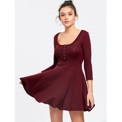 Half Buttoned Knitted A Line Mini Dress