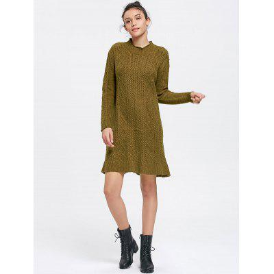 Cable Knit Long Sleeve Sweater Mini Dress