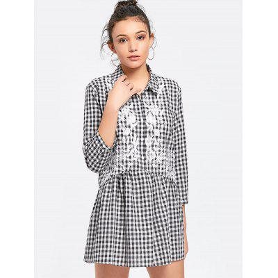 Embroidered Checked Shift Mini Dress