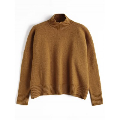 High Neck Ribbed Trim Sweater