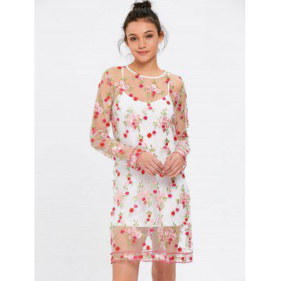 Floral Embroidered See Thru Dress with Cami Dress