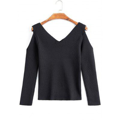 Cold Shoulder V Neck Contrasting Knitwear