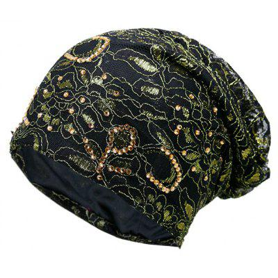 Vintage Floral Embroidery Rhinestone Decorated Beanie Hat