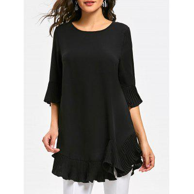 Pleated Flounce Panel Tunic Blouse