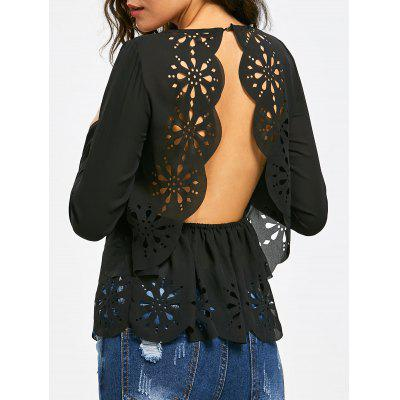 Backless Hollow Out Long Sleeve Scalloped Blouse