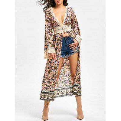 Lace Panel Long Sleeve Floral Longline Top