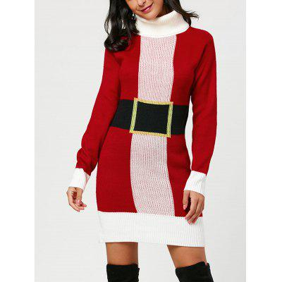 Christmas Belted Pattern Turtleneck Sweater Dress