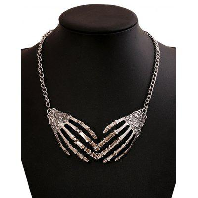 Halloween Punk Metal Skeleton Hand Necklace