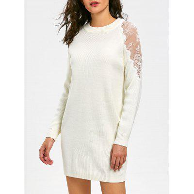 Buy WHITE M Long Sleeve Lace Panel Short Sweater Dress for $30.92 in GearBest store