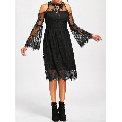 Halloween Cold Shoulder Flare Dress