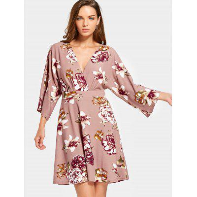 Cut Out Floral Long Sleeve Mini Dress