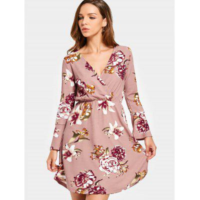 Floral Crossed Front Long Sleeve Mini Dress