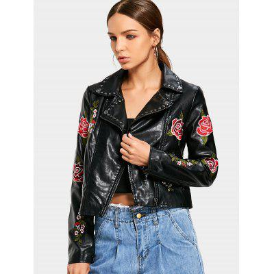 Floral Patched Zippered Faux Leather Jacket