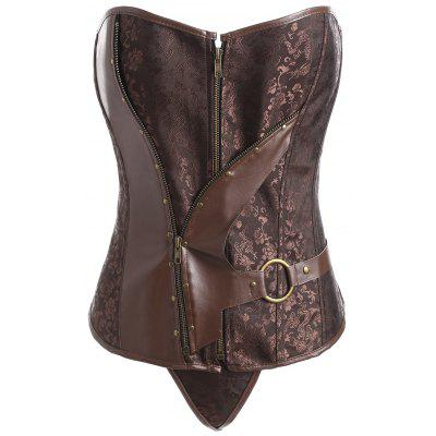 Plus Size Faux Leather Panel Vintage Jacquard Corset
