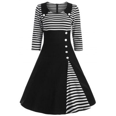 Striped Button Embellished Vintage A Line Dress