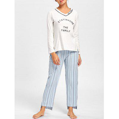 V Neck PJ Tee with Striped Pants