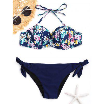 Conjunto de biquíni empinado push-up floral