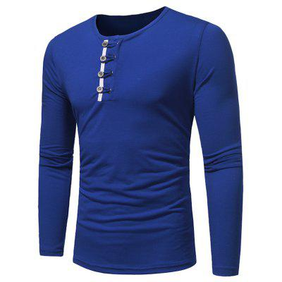 Crew Neck Buttons Embellished T-shirt
