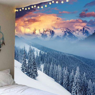 Buy Snow Mountains Forest Pattern Hanging Wall Decor Tapestry LIGHT BLUE for $12.27 in GearBest store