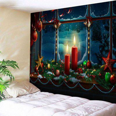 Waterproof Romantic Christmas Candles Pattern Wall Hanging Tapestry
