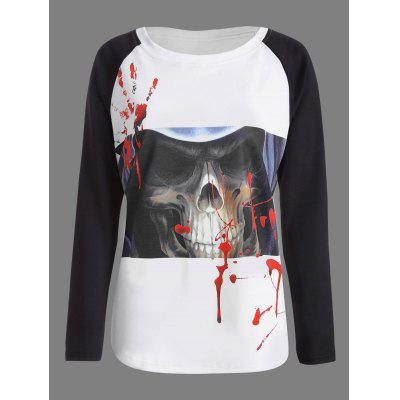 Halloween Skull Bloody Palm Print T-shirt