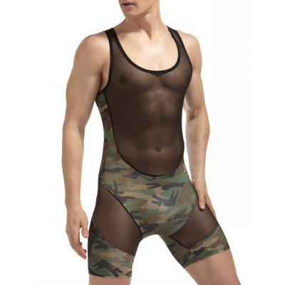 H Back camuflaje Voile Panel Stretchy Bodysuit