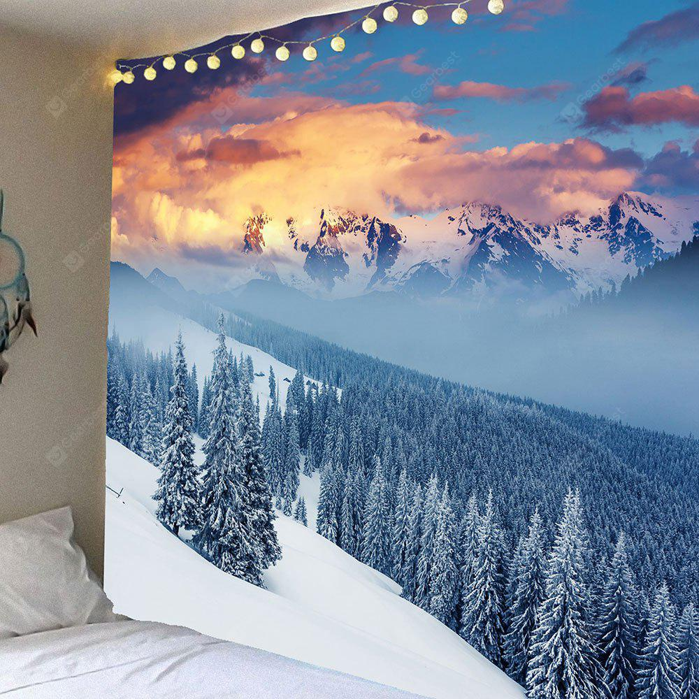 LIGHT BLUE Snow Mountains Forest Pattern Hanging Wall Decor Tapestry