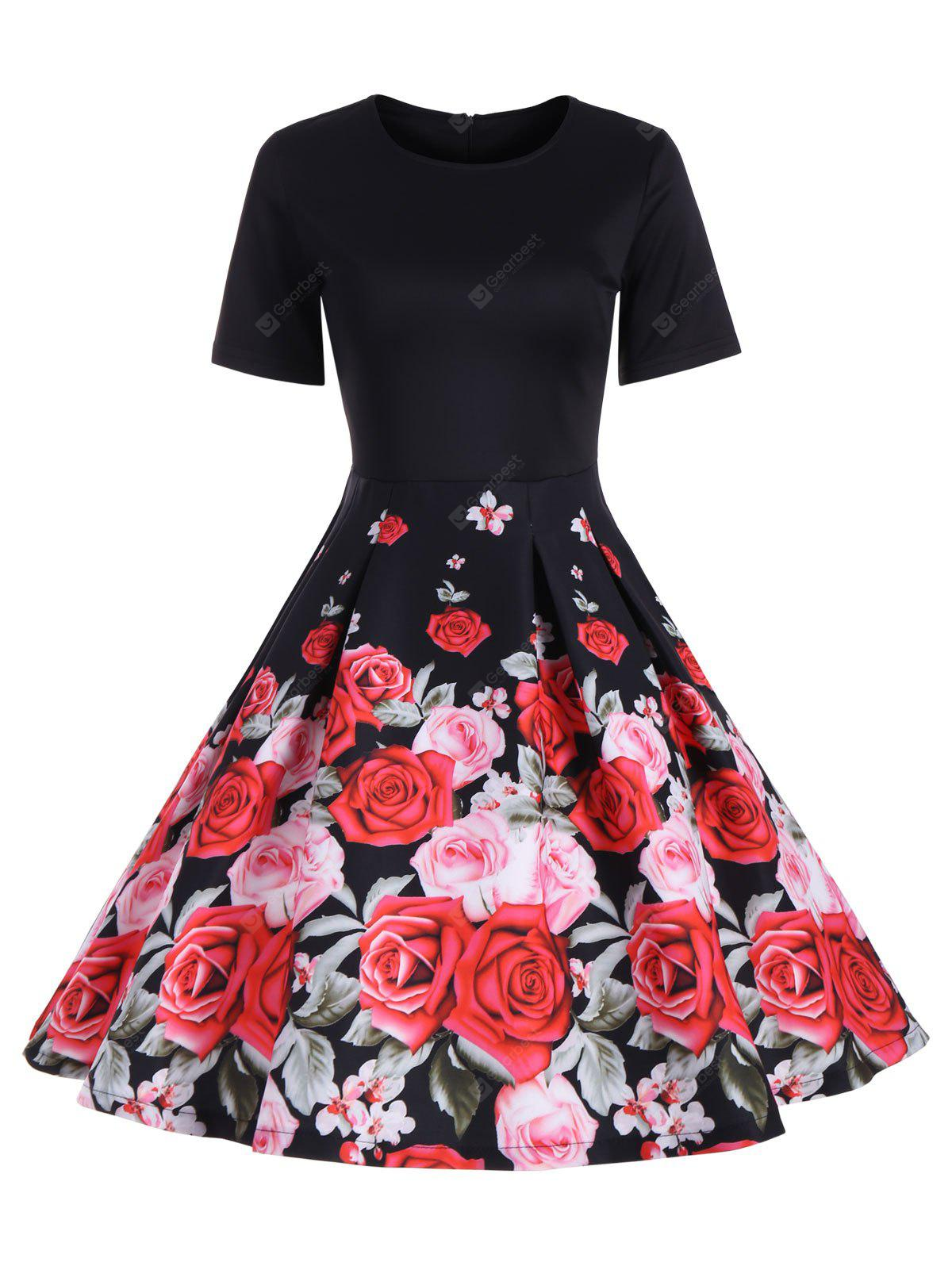 Floral A Line Short Sleeve Vintage Dress