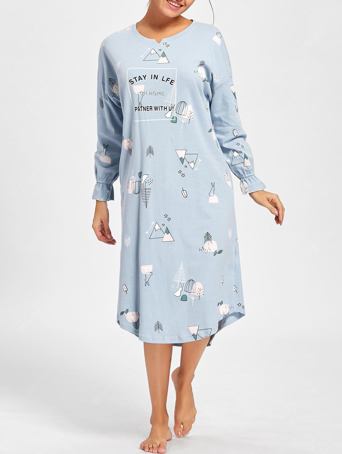Oversized Print Long Sleeve Pajama Dress