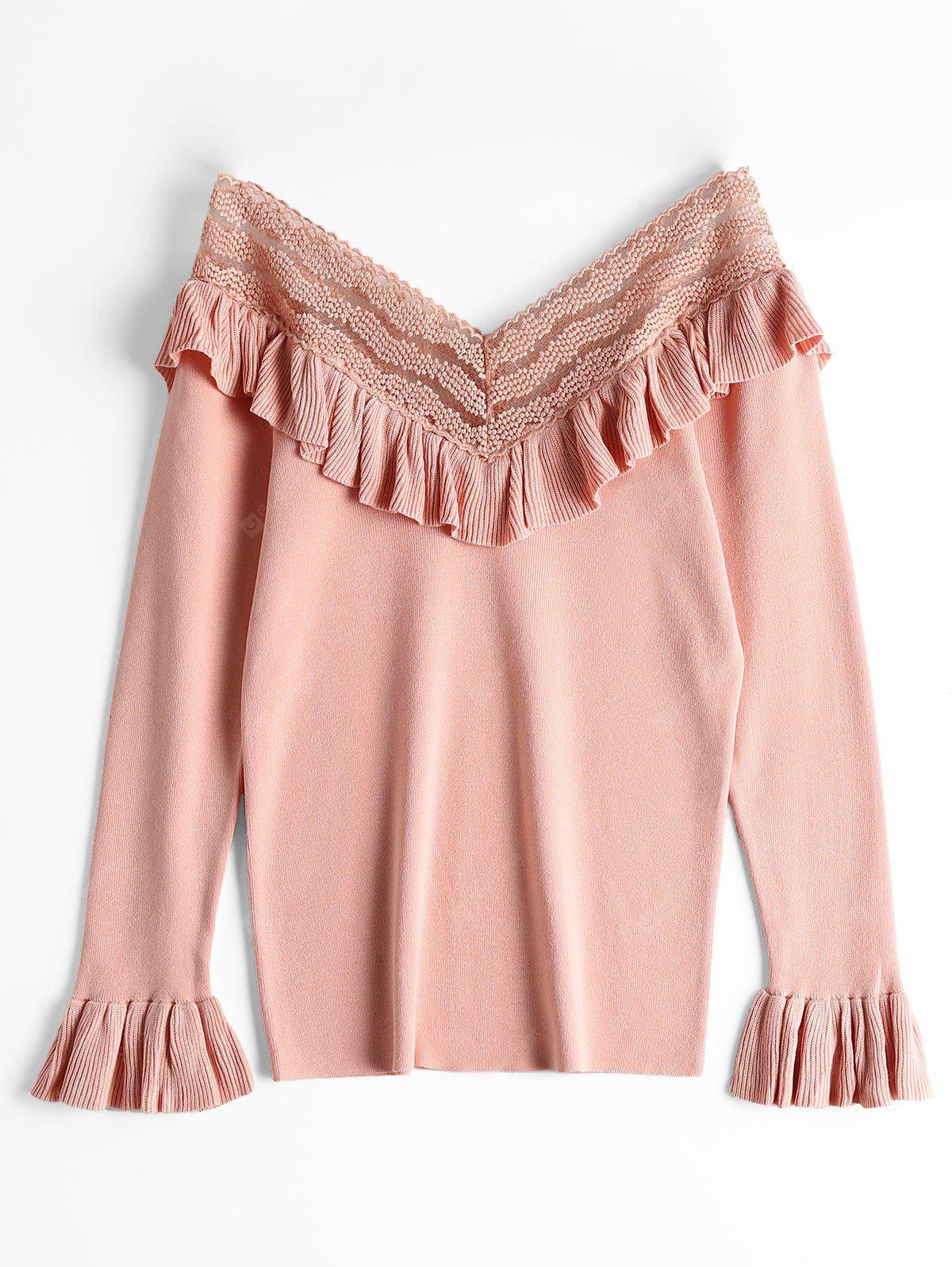 V Neck Ruffled Long Sleeve Knitted Top