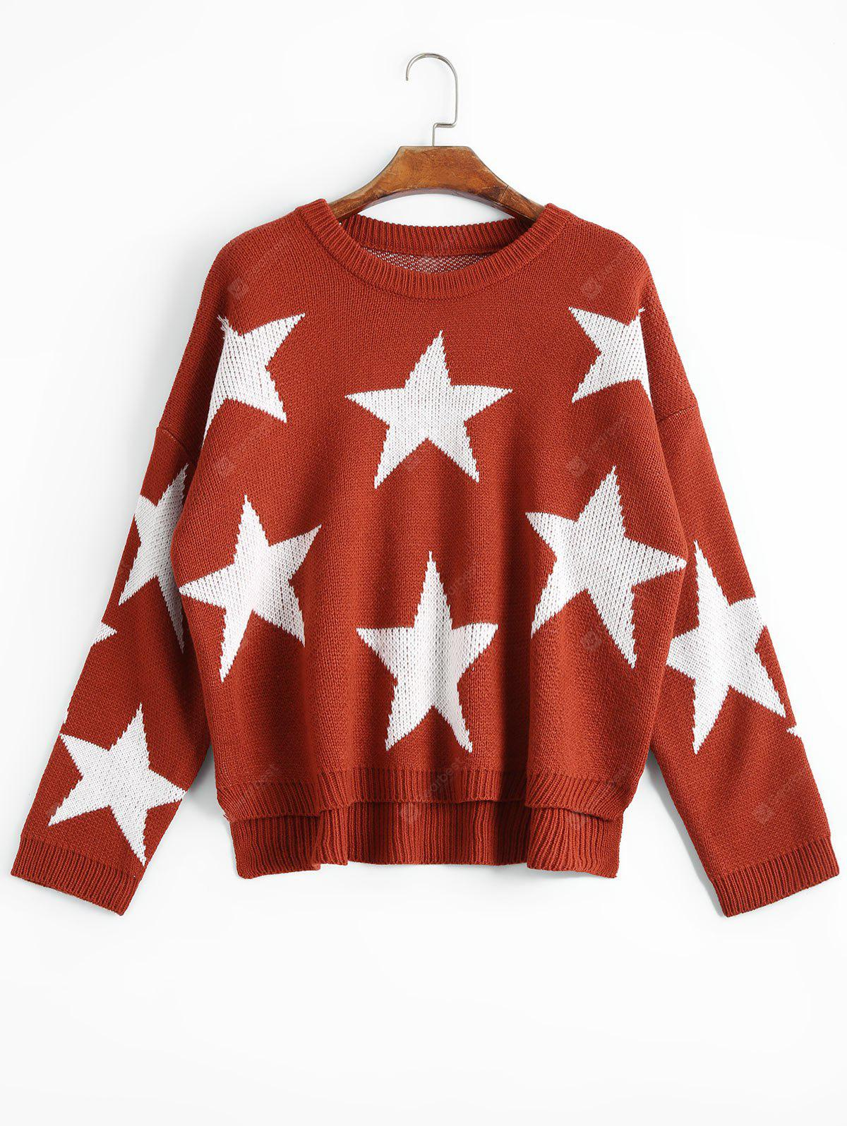 Star High Low Oversized Sweater