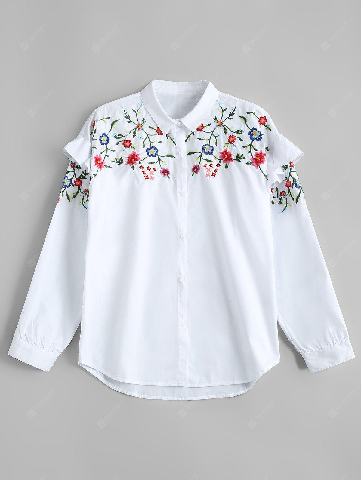 Ruffled Loose Floral Embroidered Shirt