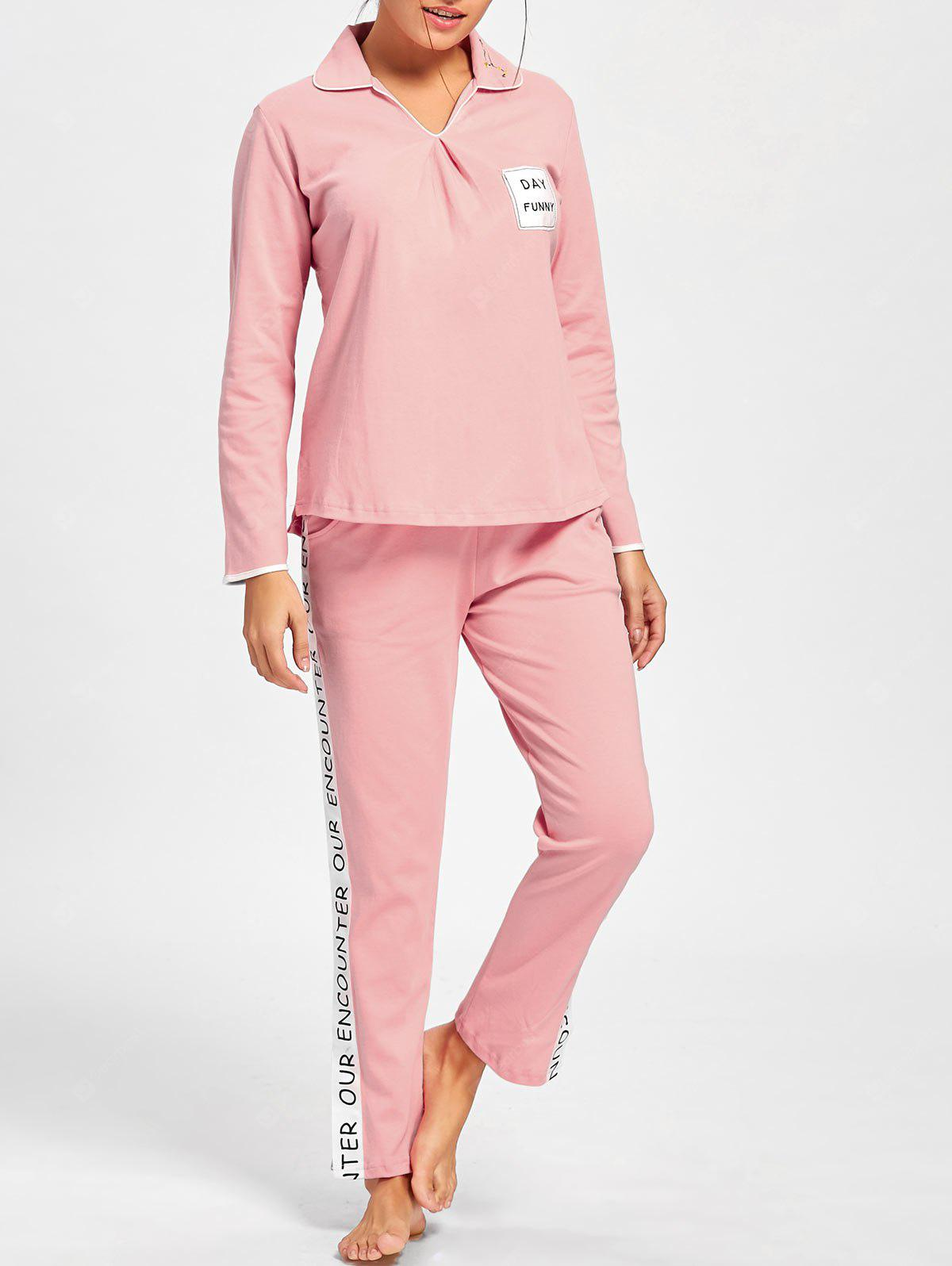 Pajama Tee with Letter Graphic Pants
