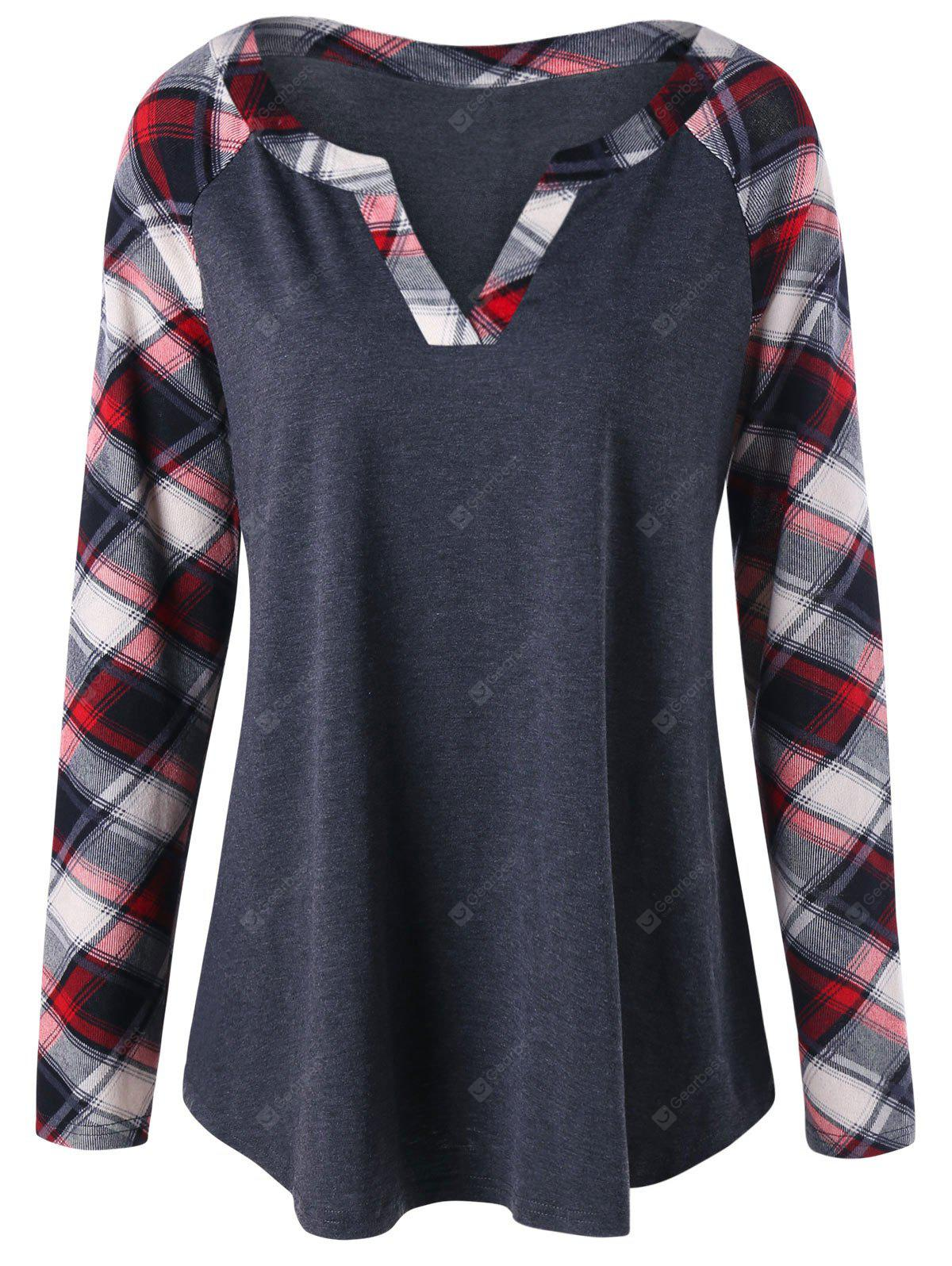 Plus Size Raglan Sleeve Plaid Top
