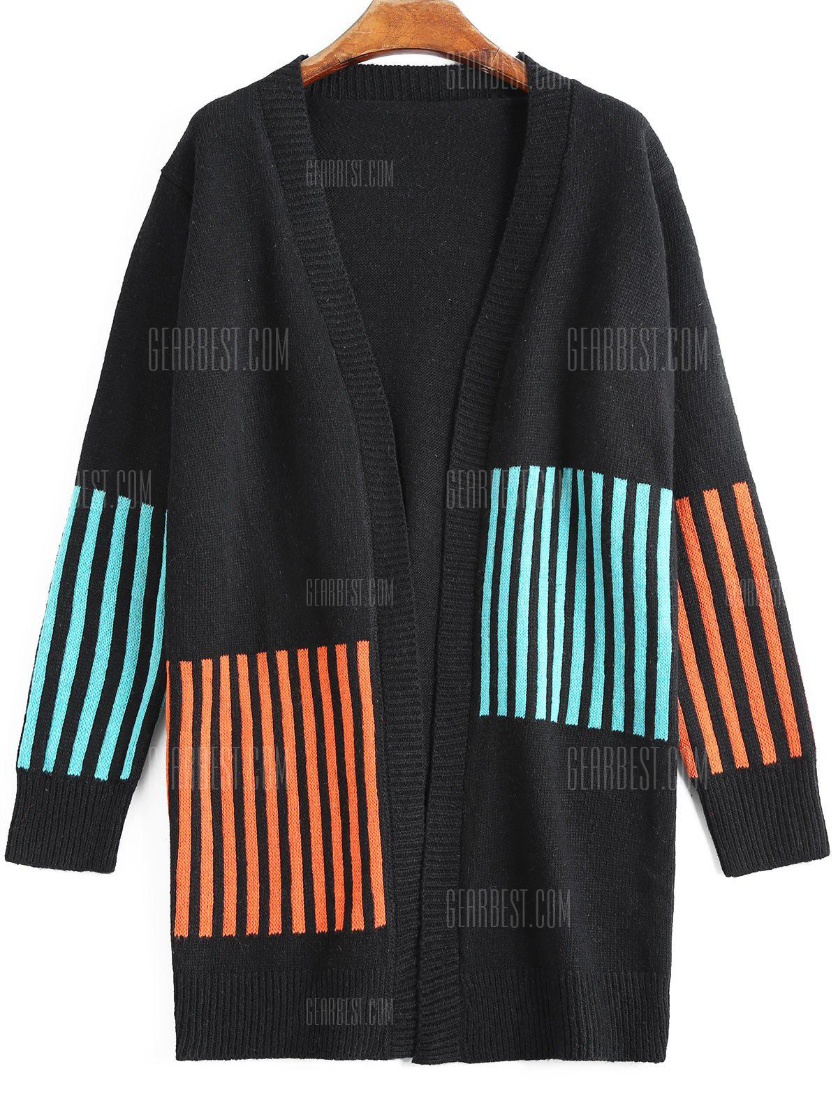 Stripes Panel Open Front Long Cardigan